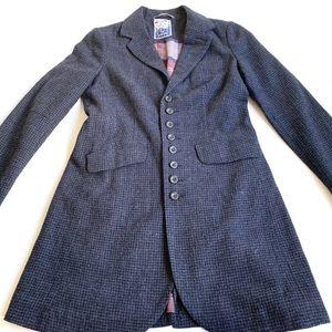 Free People wool blue plaid pea coat jacket 6
